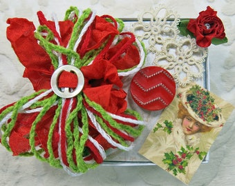 Sweet Petite Snippets Box...Christmas Holly Hat...Mini Embellishment Inspiration Kit for snippet rolls, gift tags, cards, ATC, collage, CQ