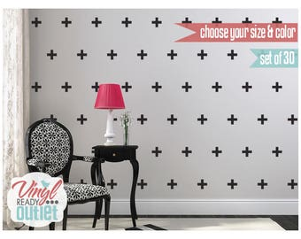 Plus Signs Vinyl Wall Decals - Set of 30 - Pick your Size & Color!