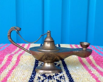 SALE-FREE SHIPPING-Vintage Etched Brass Aladdin Lamp Incense Burner-Brass Oil Lamp-Bohemian-Hippie-Gypsy-Meditation-Ethnic Decor-Genie Lamp