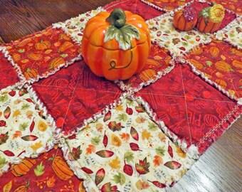 Autumn Rag Quilt Table Runner - Autumn Leaves - Pumpkins - Autumn Red, Orange, Green - Table Decor - Autumn Decor - Fall Decor - Fall Runner