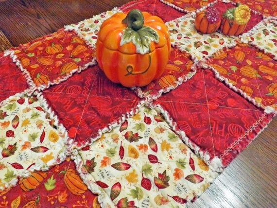 Autumn Rag Quilt Table Runner for your Thanksgiving Table - Autumn Leaves and Orange Pumpkins