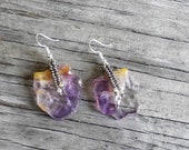 Reserved for Shawna -  Amethyst Gemstone - Drop Earrings and Custom Necklace