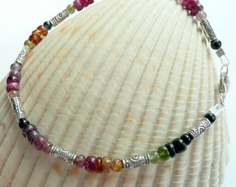 Artisan Tourmaline Fine Silver Etched Beads Sterling Silver OOAK Unique Boho Hippie Fun Funky Summer Spring Bracelet