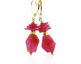 Natural Ruby Earrings - 18k Gold - Ruby Earrings - Rough Slices