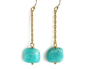 Long Amazonite Earrings - Natural Nuggets - Amazonite Earrings - Gold Filled