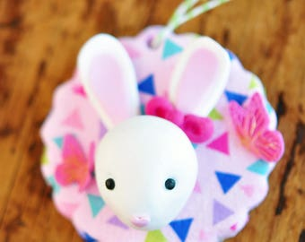 Handcrafted Clay Christmas Ornament - Bunny Rabbit and Butterflies