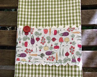 Garden Kitchen Towel  | Farm to Table Towel  | Veggie Tea Towel  | Vintage Button & Lace | Rickrack  Farmhouse Decor | Green Cream Check