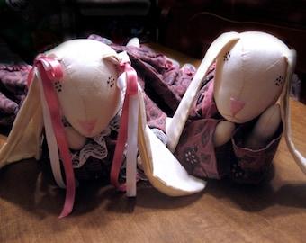 Rabbit Doll Set Tummy Bunnies Handmade Dressed in Pink