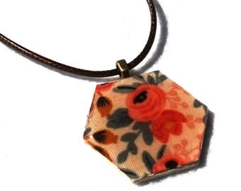 Hexie pendant, Les Fleurs Rosa by Rifle Paper Company for Cotton & Steel, hexagon pendant, hexagon necklace, fabric jewelry, fabric pendant