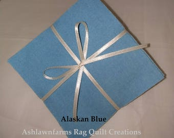 Solid ALASKAN BLUE, FLANNEL Fabric Squares,  Rag Quilt, Traditional Quilting, pick size & quantity, We Cut You Sew