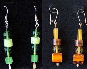 Color Choice - Striped Glass Beads Pierced Dangle Earrings