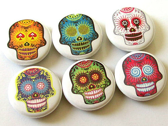 Button Pins Funky Day of the Dead Sugar Skulls gift halloween magnets skeleton calavera party favor stocking stuffer wedding shower badges