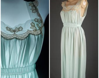 van raalte myth nylon nightgown vintage 50s negligee size 32 small s mint green chiffon lace lacy full length lingerie gown