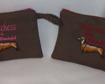 Doxie Dachshund Life is wienderful Small clutch make up bag tote with strap customized add your name or your dogs long or short hair doxie