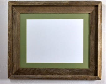Picture frame 8.5x11 sage green mat without mat 11x14 from reclaimed wood complete with glass