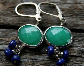 chrysoprase earrings, green blue earrings, sundance style, ckb creations, lapis earrings, sterling silver chrysoprase earrings, silver blue