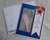 Handmade Military Card: 4th of July, Memorial, thank you, patriot, flat, greeting card, complete card, handmade, balsampondsdesign, ooak