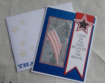 Handmade Military Card: 4th of July, Memorial, thank you, patriot, flat, greeting card, complete card, handmade, balsampondsdesign, ooak