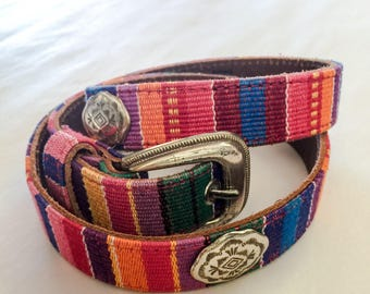 Vintage Belt Alpachura DAMELA Guatemalan Small Metal Conchos colorful leather belt