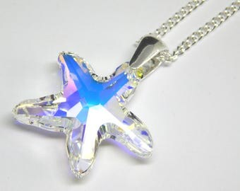 Large White Swarovski Starfish Necklace - Aurora Borealis Crystal - White Crystal Starfish Necklace - Swarovski Elements - Sea Pendant