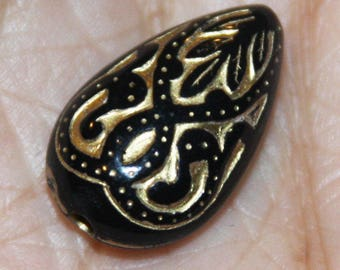 Bulk 200 pcs of vintage Acrylic teardrop beads 18x11mm Black with gold accent