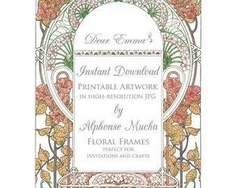 Art Nouveau Artwork for Wedding Invitations - Alphonse Mucha - JPG Instant Download - Fall Autumn Garden Frame Template for Invitation