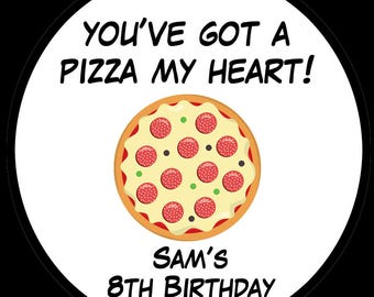 Pizza Birthday Party Stickers -FOUR Sizes Available -   Pizza Party - Favor Bag Stickers - Pizza Favor Bag Stickers
