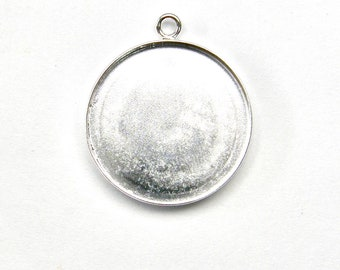 18mm ROUND BEZEL with Bail 925 Sterling Silver for Cabochon