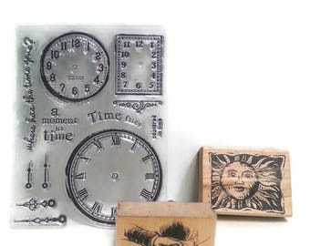 Destash Stamp Assortment Set Of Three Sun, Victorian Holding Hands, Clocks