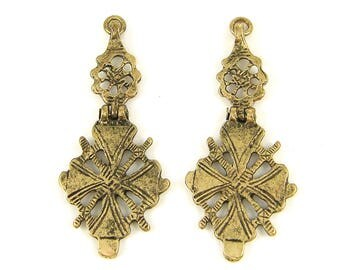 Brass Tribal Cross Pendant Ethnic Segmented Hinged Tribal African Cross Earring Dangle Findings |LG1-10|2