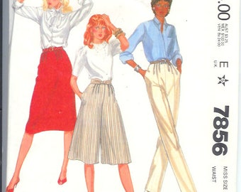 McCalls Misses PANTS Skirt  and CULOTTES  Vintage  Sewing Pattern 7856 Size 12 Bust 26 1/2  Uncut