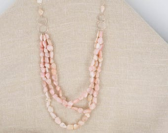 Pink Opal Multi Strand and Sterling Silver Necklace