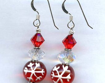 Red Flakes Sterling Silver Earrings