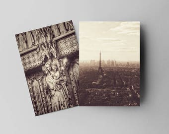 Romantic Sepia Vintage Feel Eiffel Tower and Statue Portrait Set.