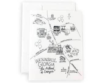 Watkinsville, Georgia Pen and Ink Map Notecard Set