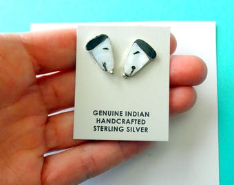 ZUNITOONS Sterling Silver Inlay Snoopy Earrings