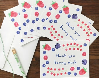 Thank You Card. Thank you Berry Much. Berry Notecard. Food Pun. Set of 6. Fruit Card. Watercolor notecard. Blank notecards. Pun lover