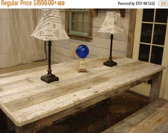"ON SALE Driftwood Dining Set: Table (72""L x 35""W x 30""h) 2 Benches (60"" x 15"" x 17""h)"