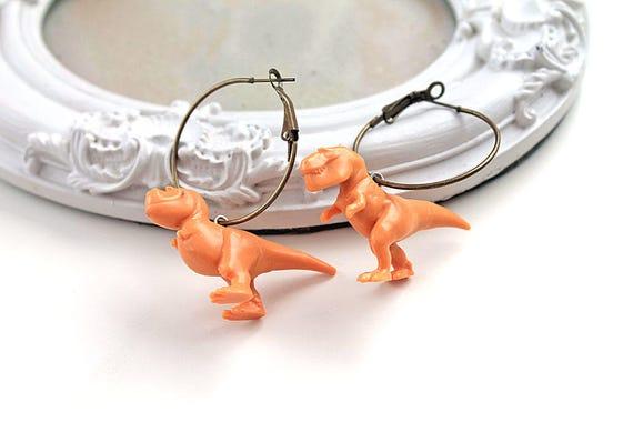 T-rex Tyrannosaurus dinosaur earrings brass hoops