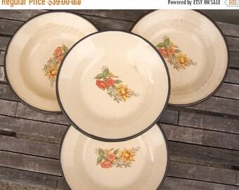 30% MOVING SALE Vintage enamel bowls / set of 4 /Yugoslavia / daffodils blue bells floral / enamelware