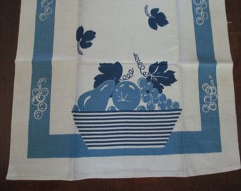 Blue Vintage Linen Kitchen Towel Never Used by Cannon