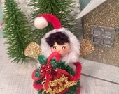 Christmas ornament merry christmas pixie vintage retro inspired christmas decor christmas pixie gold red green art doll