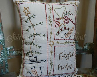 Decorative Snowmen Pillow - Frosted Flakes - Hand Stitched Pillow - Decorative Throw Pilllow