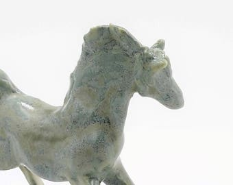 Little Porcelain Horse - cloudy grey horse sculpture - original art