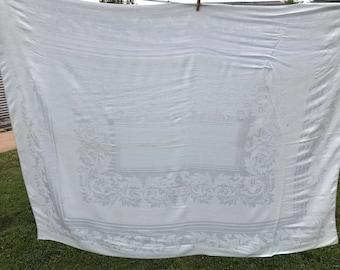 Vintage Pale Blue Damask Tablecloth