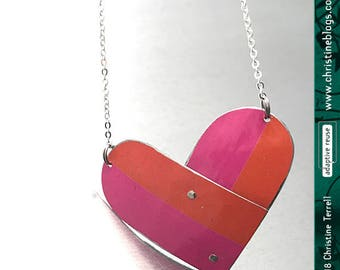 Pink Orange Tin Heart Upcycled Necklace Valentine Gift Tin Anniversary Bridesmaid Gift Ethical Fashion Soul Mate True Love Friend Wife Gift