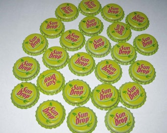 Vintage Yellow Sun Drop Bottle Caps Set of 25