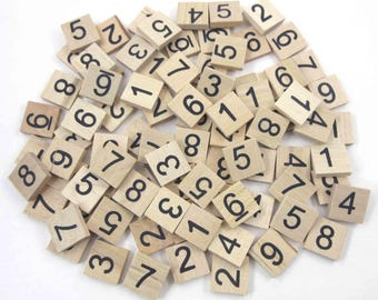 Wooden Sudoku Tiles or Game Pieces with Black Numbers Set of 90