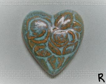 Heart Fridge Magnet with Rose Design - Teal Turquoise Jade - Stoneware Handmade Girlfriend Boyfriend Anniversary Gift Wedding Favors