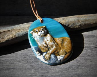 Beautiful Otter- Fused glass pendant